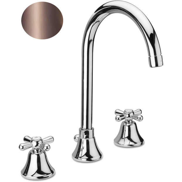 Cross Three Holes Double Handle Widespread Tall Vessel Filler Bath Basin Faucet - AGM Home Store LLC