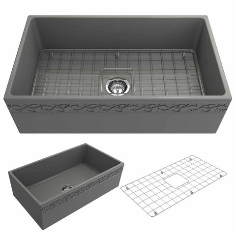 Bocchi Vigneto Apron Front Fireclay 33 in. Single Bowl Kitchen Sink with Protective Bottom Grid and Strainer in Matte Gray - AGM Home Store LLC
