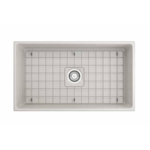 Bocchi Vigneto Apron Front Fireclay 33 in. Single Bowl Kitchen Sink with Protective Bottom Grid and Strainer in Biscuit - AGM Home Store LLC