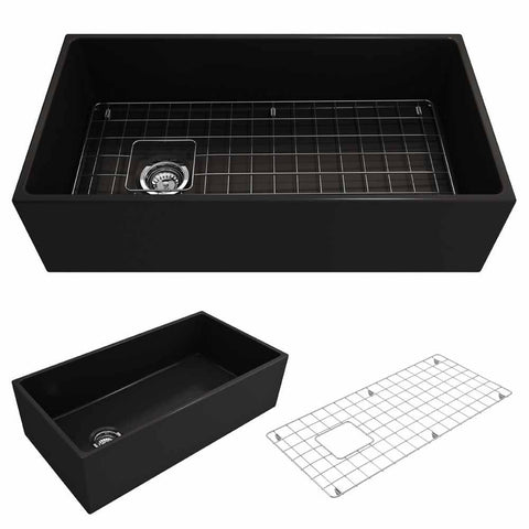Bocchi Contempo Apron Front Fireclay 36 in. Single Bowl Kitchen Sink with Protective Bottom Grid and Strainer in Matte Black - AGM Home Store LLC