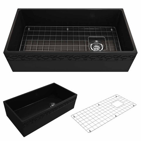 Bocchi Vigneto Apron Front Fireclay 36 in. Single Bowl Kitchen Sink with Protective Bottom Grid and Strainer in Matte Black - AGM Home Store LLC