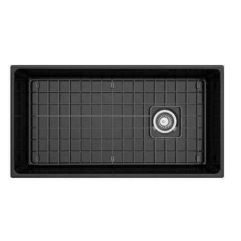 Bocchi Vigneto Apron Front Fireclay 36 in. Single Bowl Kitchen Sink with Protective Bottom Grid and Strainer in Black - AGM Home Store LLC