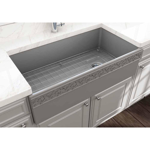 Bocchi Vigneto Apron Front Fireclay 36 in. Single Bowl Kitchen Sink with Protective Bottom Grid and Strainer in Matte Gray - AGM Home Store LLC