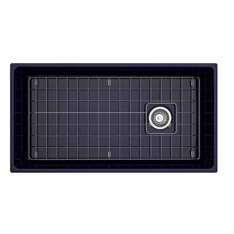 Bocchi Vigneto Apron Front Fireclay 36 in. Single Bowl Kitchen Sink with Protective Bottom Grid and Strainer in Sapphire Blue - AGM Home Store LLC