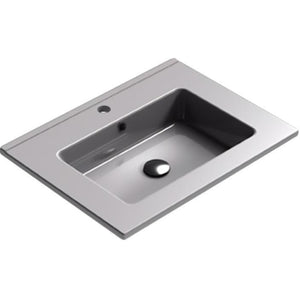 Sonia PLAY Washbasin 24 inches Single Drop-In Rectangular SX7 Bathroom Sink - AGM Home Store LLC