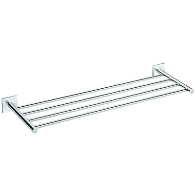 Square Self-Ahdesive 24 in. Towel Rack Bathroom Storage Shelf Holder Chrome - AGM Home Store LLC