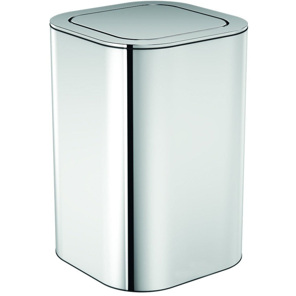 Neli Square Polished Stainless Steel Wastebasket Trash Can W/ Swing Lid Bin - AGM Home Store LLC