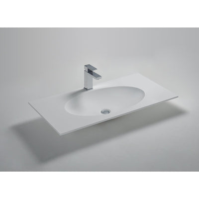 Ideavit Solidzelig 35/ 47 / 59 inches Vanity Countertop with 1 Oval Shape Basins - Single Sink - AGM Home Store LLC