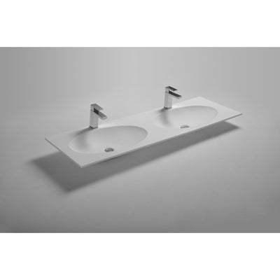 Ideavit Solidzelig 59 inches Vanity Countertop with Two Oval Shape Basins - Double Sink - AGM Home Store LLC
