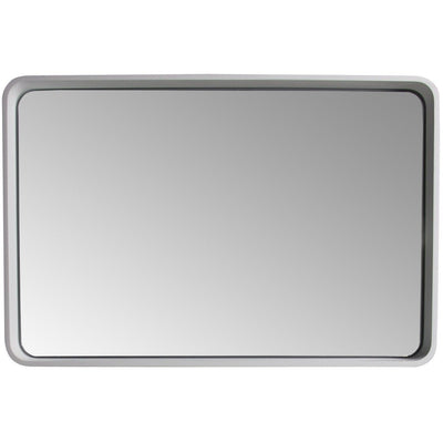 ID Wall Full Function LED Light Framed Mirror 35.4 x 23.6 in White Solid Surface - AGM Home Store LLC