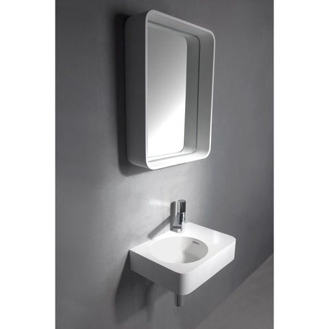 Solidtondo Wall Mounted Framed Mirror for Bathroom Vanity Bedroom, White Solid Surface - AGM Home Store LLC