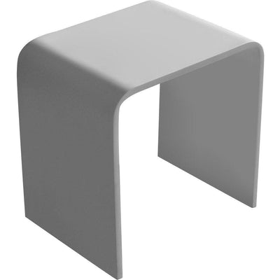 ID Shower Bench Bath Stool Table, Solid Surface White Matte - AGM Home Store LLC