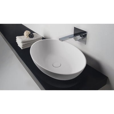 ID Solid Surface 24 in. Vessel Sink Bowl Above Counter Sink Lavatory Washbasin - AGM Home Store LLC