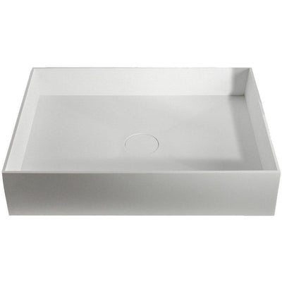 ID Solid Surface White Rectangular Vessel Sink Bowl Above Counter Sink Lavatory - AGM Home Store LLC