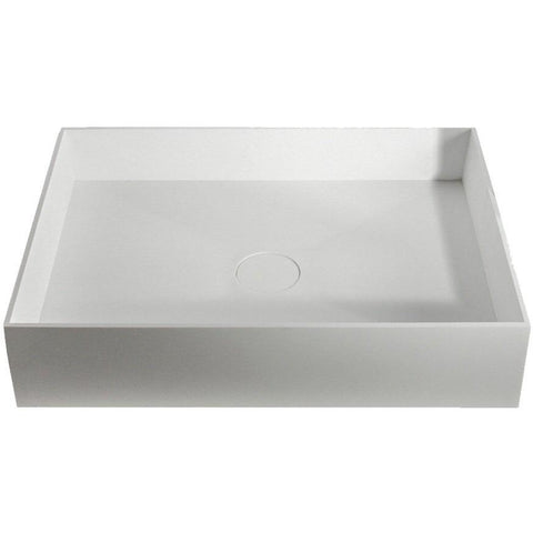 Solidjoy White Rectangular Vessel Sink Bowl Above Counter Sink Lavatory - AGM Home Store LLC
