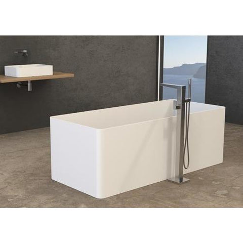 Solidthin 63 x 28 in. Freestanding Rectangular Bathtub in White Matte Solid Surface - AGM Home Store LLC