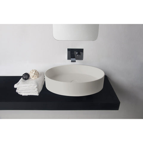 Solidthin Solid Surface 24 in. Oval Vessel Sink Bowl Above Counter Sink Lavatory - AGM Home Store LLC