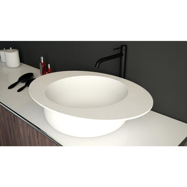Solidcap 24 x 18 in. Oval Vessel Sink Bowl Above Counter Sink Round Washbasin - AGM Home Store LLC