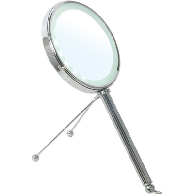 BR Countertop LED Round 5X - 1X Double Sided Cosmetic Makeup Magnifying Mirror - AGM Home Store LLC