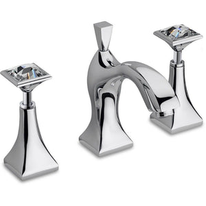 Diamante Three Hole Double Swarovski Handle Widespread Bathroom Basin Faucet - AGM Home Store LLC