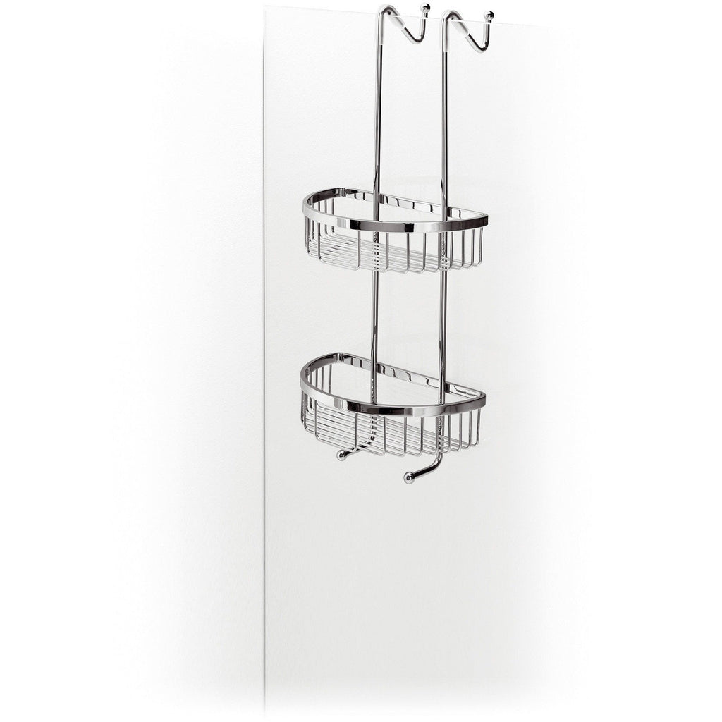 LB Filo Bathroom Over the Door Shower Caddy 2 Basket, Shower Door Hung