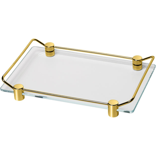 Addition Bathroom Vanity Countertop Guest Towel and Organizer Glass Tray, Brass - AGM Home Store LLC
