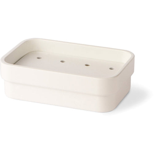 LB Curva Countertop Soap Dish Holder Soap Saver Holder Tray With Drain, White - AGM Home Store LLC