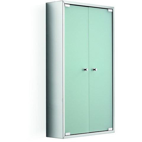 "LB Pika Two Frosted Glass Door Wall Medicine Cabinet Storage Unit 18.3"" X 31.5"""