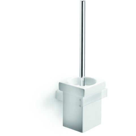 LB Skuara Standing Toilet Brush  & Holder Set, White Porcelain, Chrome Handle