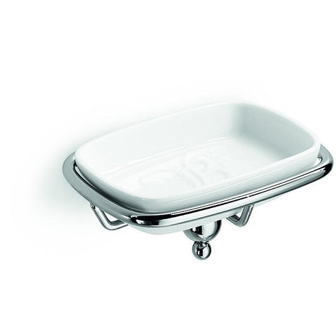 LB Venessia Wall Mounted Soap Dish Holder Porcelain Tray  Soap Holder - Chrome - AGM Home Store LLC