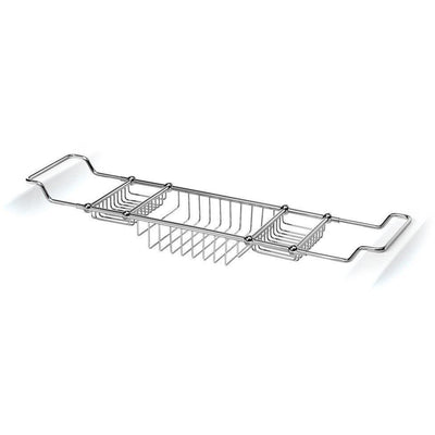 LB Bathtub Caddy Tray Bridge Tub Shelf Rack Bath Organizer Storage Chrome Brass - AGM Home Store LLC
