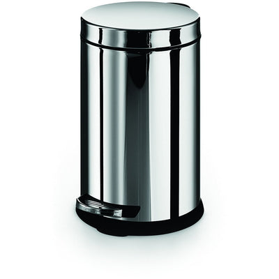 LB Round Step Trash Can Stainless Steel Wastebasket W/ Lid Polished Chrome 6L - AGM Home Store LLC