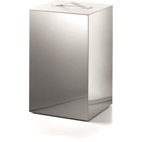 LB Secioni Stainless Hamper Wide Laundry Basket W/ Cover Lid - Polished Chrome