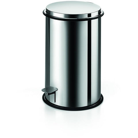 LB Round Step Trash Can Stainless Steel Wastebasket W/ Lid Polished Chrome 3L - AGM Home Store LLC