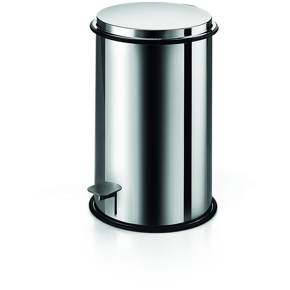 LB Round Step Trash Can Stainless Steel Wastebasket W/ Lid Polished Chrome 5L - AGM Home Store LLC