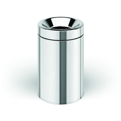 LB Round Open Top Stainless Steel Wastebasket Can W/O Lid Polished Chrome