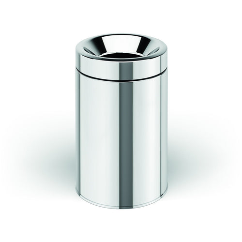 LB Round Open Top Stainless Steel Wastebasket Can W/O Lid Polished Chrome - AGM Home Store LLC
