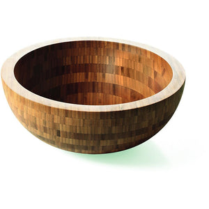 LB Round Vessel Sink Bowl Above Counter Sink Lavatory Vanity Cabinet, Bamboo - AGM Home Store LLC