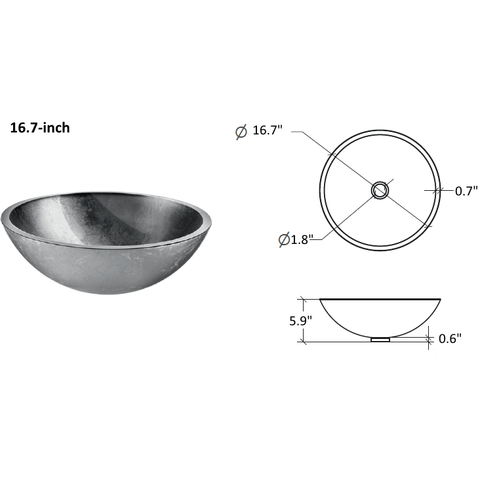 LB Round Glass Vessel Sink Bowl Above Counter Sink Lavatory Vanity Cabinet - AGM Home Store LLC