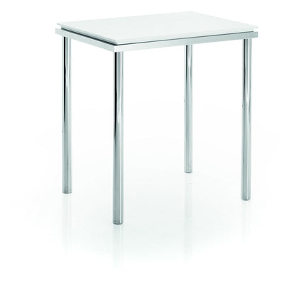 LB Backless Vanity Stool Bench for Bath Bedroom W/ Chrome Legs Mattstone Seat - AGM Home Store LLC