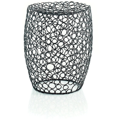 LB Scagni Backless Vanity Stool Bench w/ Unique Circles Design, Burnished Metal - AGM Home Store LLC