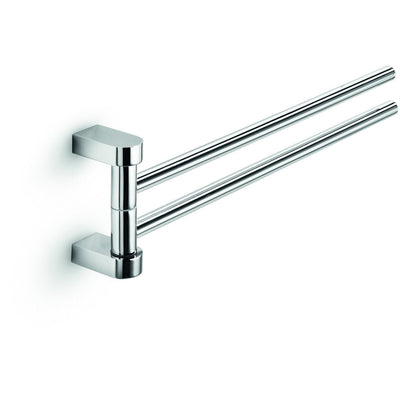 "LB Muci Double Swing Out Towel Bar, 2 Folding Arm 15"" Swivel Hanger Chrome - AGM Home Store LLC"