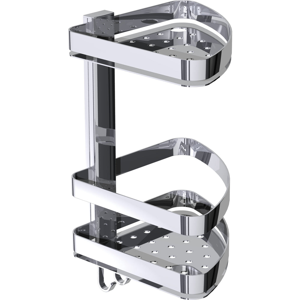 BR Wall Corner Shower Caddy Double Shelf Organizer for Shampoo, Soap With Hooks - AGM Home Store LLC