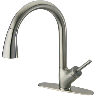 Pogno single handle pull-down spray kitchen in Brushed Nickel - AGM Home Store LLC