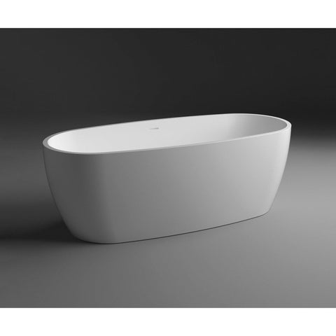 Atlantic Solid Surface Freestanding 71 inches Soaking Bathtub, White - AGM Home Store LLC