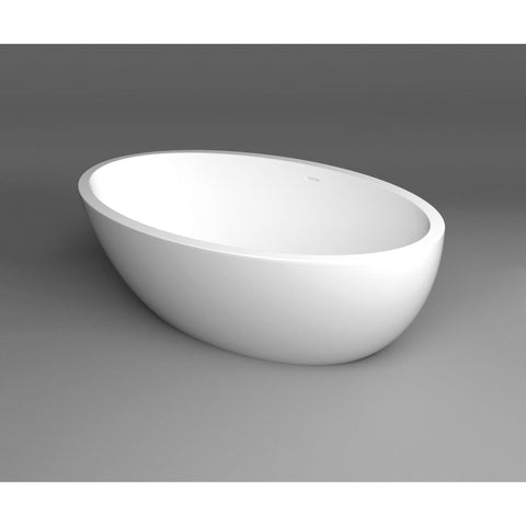 Dreamy Solid Surface Freestanding 67 inches Soaking Bathtub, White - AGM Home Store LLC