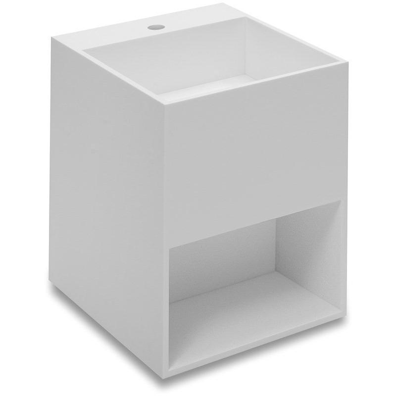 Owen 15.7 in. Wall Mounted Washbasin Bathroom Vanity With Storage, Solid Surface - AGM Home Store LLC
