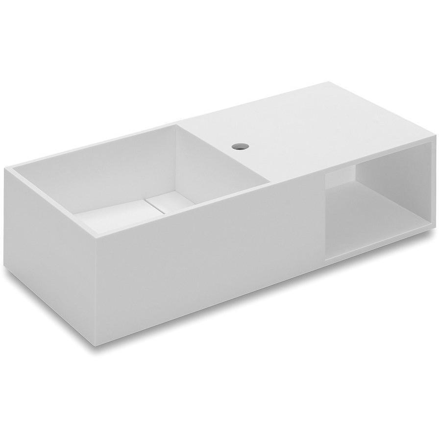 Owen 31.5 in. Wall Mounted Washbasin Bathroom Vanity With Storage, Solid Surface - AGM Home Store LLC