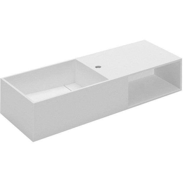 Owen 39.4 in. Wall Mounted Washbasin Bathroom Vanity With Storage, Solid Surface - AGM Home Store LLC