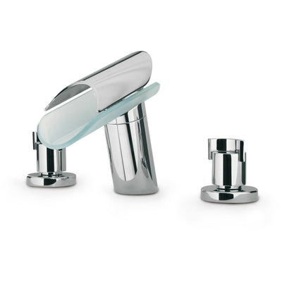 Morgana triple hole double lever handle roman tub filler faucet knob handle - AGM Home Store LLC